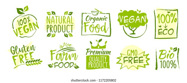 Second set of Bio and Eco stickers, vector illustration for graphic and web design
