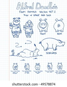 A second set of farm animals in doodle style: pigs