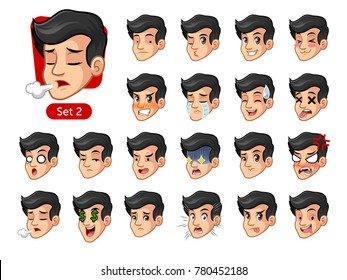 The second set of male facial emotions cartoon character design with black hair and different expressions, sad, tired, angry, die, mercenary, disappointed, shocked, tasty, etc. vector illustration.