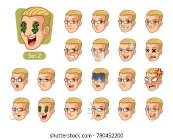 The second set of male facial emotions cartoon character design with blonde hair and different expressions, sad, tired, angry, die, mercenary, disappointed, shocked, tasty, etc. vector illustration.