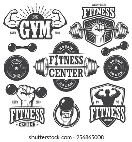 Second set of monochrome fitness emblems, labels, badges, logos and designed elements.