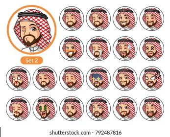 The second set of Saudi Arab man cartoon character avatars with different facial emotions and expressions, sad, tired, angry, die, mercenary, disappointed, shocked, tasty, etc. vector illustration