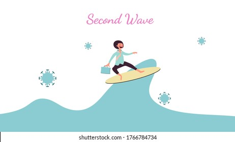 Second wave outbreak concept, coronavirus covid-19 and second wave alphabet isolate on white background, businessman smiling and play surf, pink cheek character holding office bag, vector illustration
