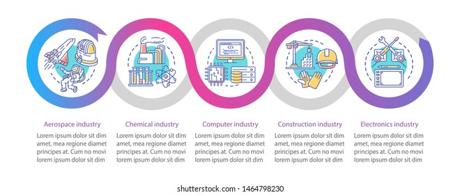 Secondary sector of economy vector infographic template. Business presentation elements. Data visualization with five steps and options. Process timeline chart. Workflow layout with linear icons
