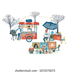 Secondhand shop and food stall at flea market or market fair, all in colorful doodle cartoon flat design, illustration, vector, on white background