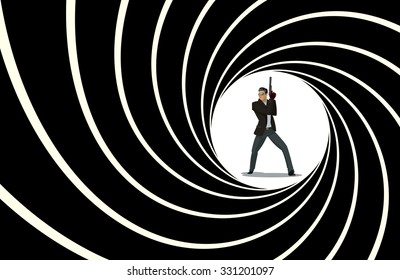 Secret agent. 007 Posing on camera. Vector illustration