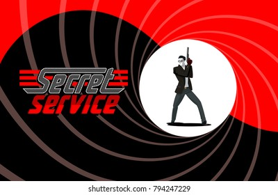 Secret agent character. Posing on camera. 007 Vector illustration