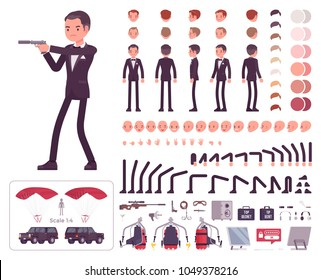 Secret agent man, gentleman spy of intelligence service character creation set. Full length, different views, emotions, gestures. Build your own design. Cartoon flat-style infographic illustration