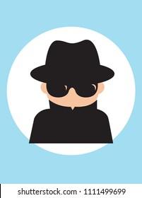 Secret agent man, gentleman spy of intelligence service, collect political, business information, Vector flat style cartoon illustration