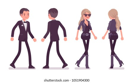 Secret agent man and woman, gentleman and lady spy of intelligence service, watcher to uncover data, collect political, business information, walking. Vector flat style cartoon illustration