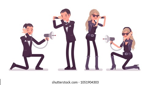 Secret agent man and woman, gentleman and lady spy of intelligence service, watcher to uncover data, collect political, business information, with devices. Vector flat style cartoon illustration