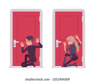 Secret agent man, woman, gentleman and lady spy of intelligence service, watcher to uncover data, collect political, business information, eavesdropping at door. Vector flat style cartoon illustration