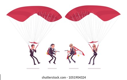 Secret agent man and woman, gentleman and lady spy of intelligence service, watcher to uncover data, collect business information, on parachute and jetpack. Vector flat style cartoon illustration