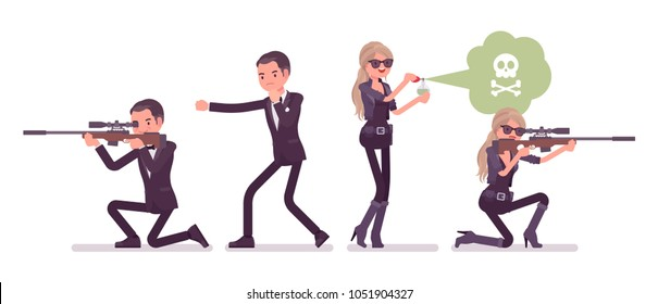 Secret agent man and woman, gentleman and lady spy of intelligence service, watcher to uncover data, collect political, business information, with sniper rifle. Vector flat style cartoon illustration