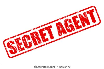SECRET AGENT RED STAMP TEXT ON WHITE