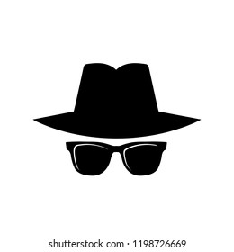 Secret agent, spy icon, logo on white background
