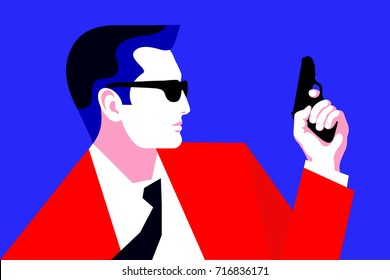 Secret agent, spy, policeman, detective, security guard with a gun. Flat vector illustration