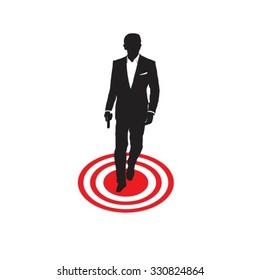 Secret Agent standing on target.