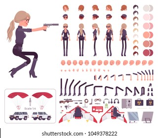 Secret agent woman, lady spy of intelligence service character creation set. Full length, different views, emotions, gestures. Build your own design. Cartoon flat-style infographic illustration