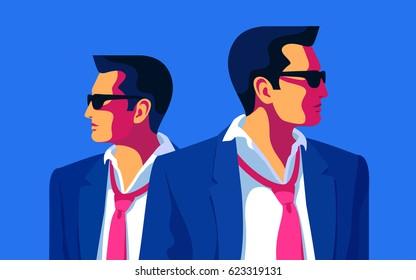 Secret agents, spies, security guards. Flat  vector illustration