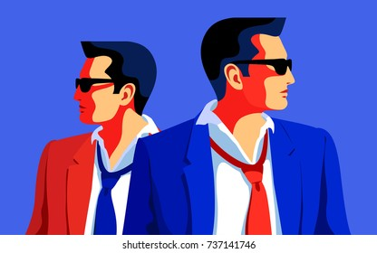 Secret agents, spies, security guards. Flat  vector illustration