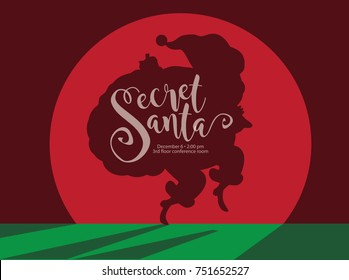 Secret cartoon Santa Claus shadow sneaking in the spotlight to deliver Christmas gifts. EPS 10 vector.