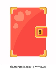 Secret diary with hearts, flat style vector illustration.