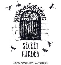 Secret garden Black color Brush illustration