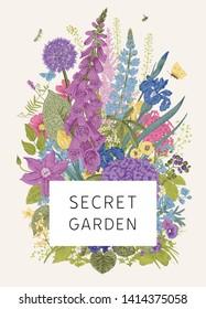 Secret Garden. Flower frame. Bouquet. Vintage vector botanical illustration. Colorful