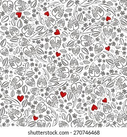 secret garden monochrome spring summer floral seasonal messy seamless pattern with red hearts on white background