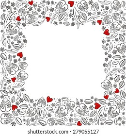 secret garden square frame with red hearts monochrome spring summer floral seasonal messy card on white background