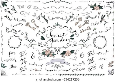 Secret Garden Wedding Clip Art - Hand Drawn Vintage Wedding Ornaments and Curls, Skeleton Keys and Flowers