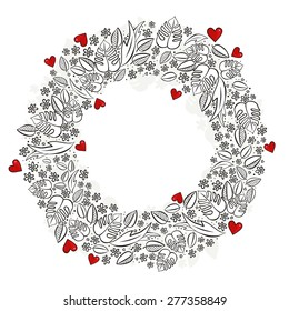 secret garden wreath with red hearts monochrome spring summer floral seasonal messy card centerpiece on white background