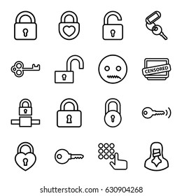 Secret icons set. set of 16 secret outline icons such as lock, opened lock, key, heart lock, censored woman, censored, emot with zipper mouth