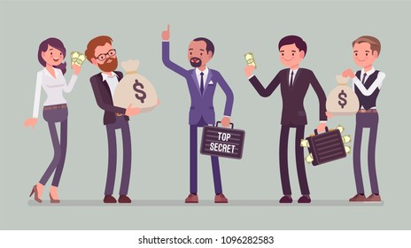 Secret information sale. Businessman gives confidential protected data exchange for money, competitives buying marketing plans, product formula, customer list. Vector flat style cartoon illustration