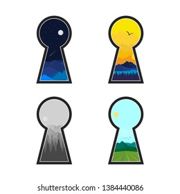 Secret Keyhole Outdoor Morning/Noon/Evening/Night Nature Adventure Panorama View Logo & Illustration