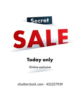 Secret Sale offer poster banner vector illustration. Colorful text letters on white background. Good for ad, promo, web design.