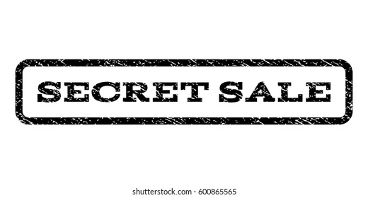 Secret Sale watermark stamp. Text tag inside rounded rectangle frame with grunge design style. Rubber seal stamp with dust texture. Vector black ink imprint on a white background.