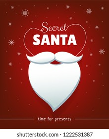 Secret Santa banner design with white beard and snowflakes on red background. Time for presents. - Vector illustration