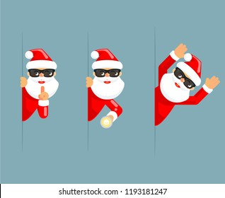 Secret santa claus flashlight peeking out corner surrender give up cartoon characters set flat design isolated vector illustration