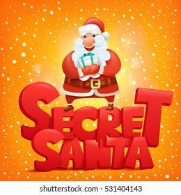 Secret santa claus invitation concept card Vector illustration
