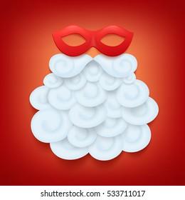 Secret santa concept card with carnival mask and beard. Vector illustration