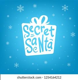 Secret Santa gift design with snowflakes on blue background