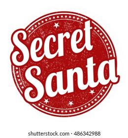 Secret Santa grunge rubber stamp on white background, vector illustration