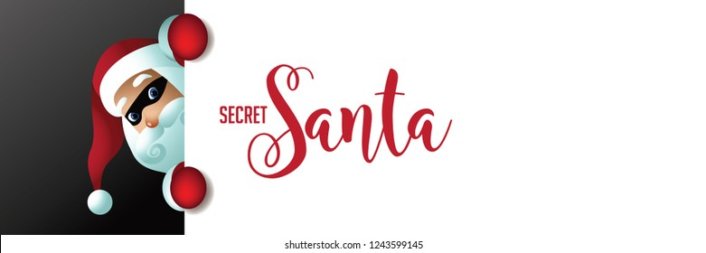 Secret Santa invitation background featuring cartoon Santa Claus holding a placard with copy space. Eps10 vector illustration.