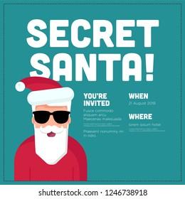 Secret Santa Invitation Template With Agenda Venue and Date Details