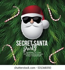 Secret Santa invitation template with Santa Claus. EPS 10 vector.