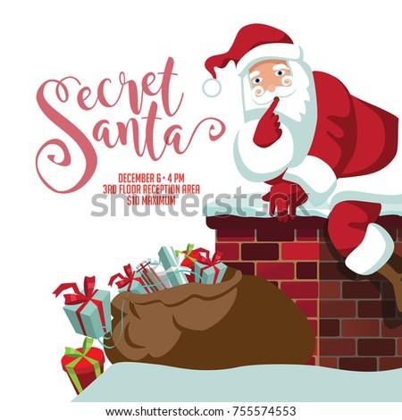 secret santa party invitation template cartoon stock vector royalty