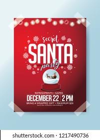 Secret Santa party poster invitation. Eps10 vector illustration.
