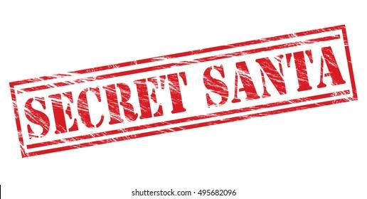 secret santa red vector stamp on white background